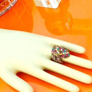 Unique multiple color stone frog ring
